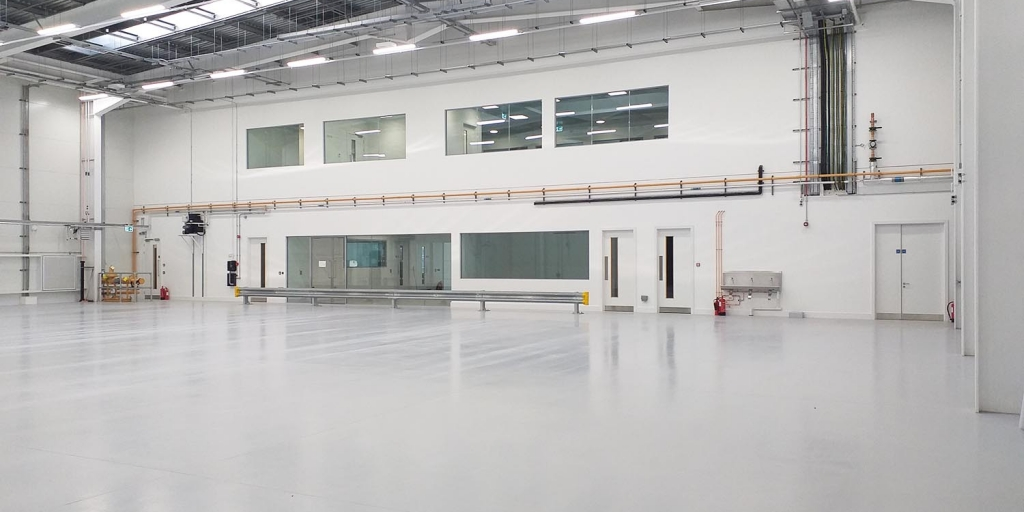 a large white empty warehouse